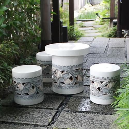 送料無料 15号信楽焼ガーデンテーブル 陶器テーブル 焼き物 お庭、ベランダ用庭園セット ガーデンテーブルセット 陶器 イス 信楽焼テーブル ガーデンセット 屋外用 te-0010
