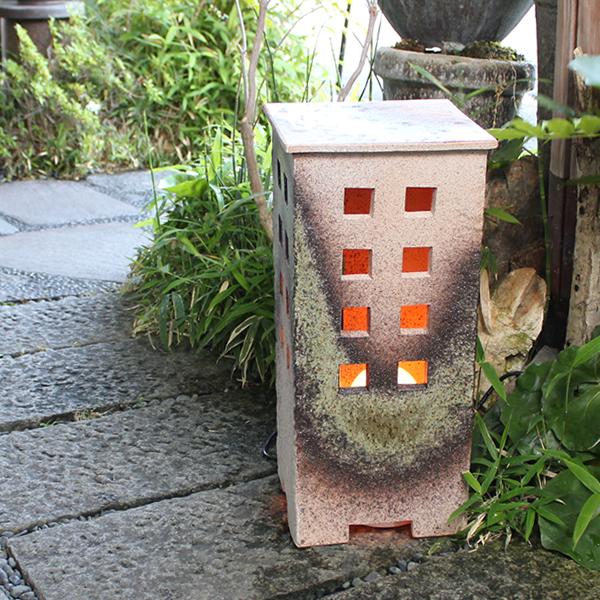 庭園灯 和風照明 陶器照明 信楽焼照明 行燈 あんどん ガーデンライト 屋外ライト 和風ライト あかり やきもの 防水ライト 陶器 しがらき あけぼの(大) ak-0071