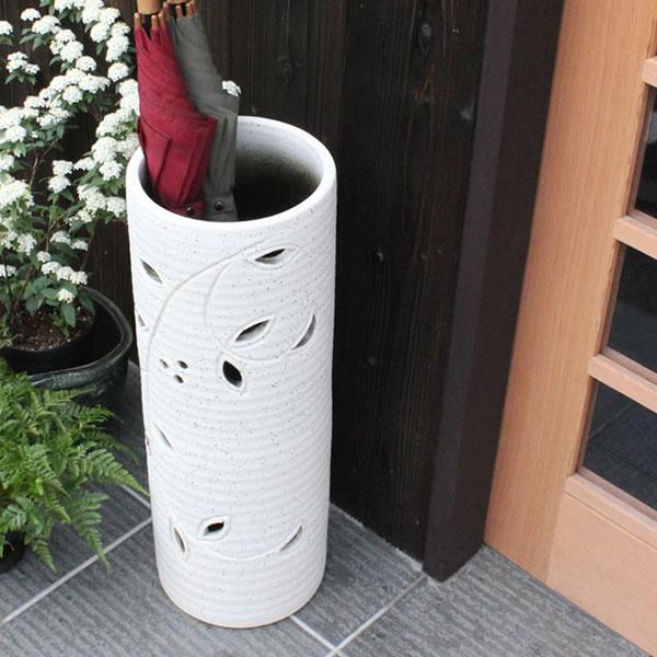 信楽焼 花透し長傘立て 玄関のインテリア 陶器 信楽焼かさたて 陶器傘立て 和風傘立て やきもの 傘たて つぼ ツボ しがらき 傘入れ カサタテ 新築祝 開店祝 kt-0265