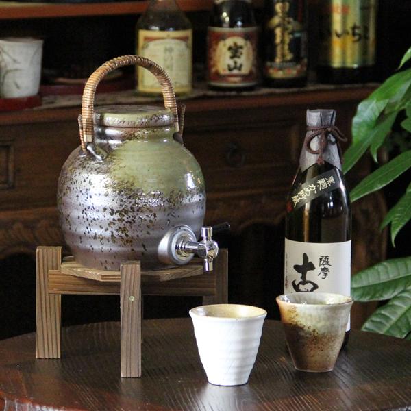 信楽焼 丸型ビードロ焼酎サーバー 陶器サーバー 信楽焼サーバー 焼酎サーバー ギフトにも最適 焼酎ビン 瓶 ss-0062