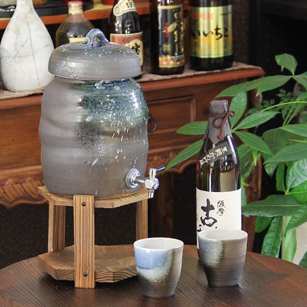 信楽焼 3.6リットル青ビードロ焼酎サーバー 陶器サーバー 信楽焼サーバー 焼酎サーバー ギフトにも最適 焼酎ビン 瓶 ss-0121
