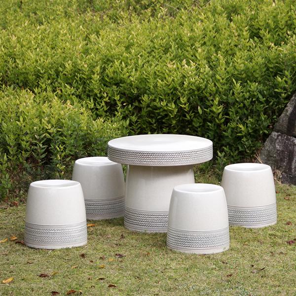 送料無料 20号信楽焼ガーデンテーブル 陶器テーブル 焼き物 お庭、ベランダ用庭園セット ガーデンテーブルセット 陶器 イス 信楽焼テーブル ガーデンセット 屋外用 te-0020