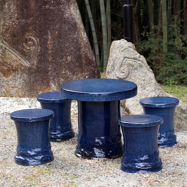 送料無料 25号信楽焼ガーデンテーブル 陶器テーブル 焼き物 お庭、ベランダ用庭園セット ガーデンテーブルセット 陶器 イス 信楽焼テーブル ガーデンセット 屋外用 te-0042