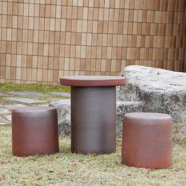 送料無料 15号信楽焼ガーデンテーブル 陶器テーブル 焼き物 お庭、ベランダ用庭園セット ガーデンテーブルセット 陶器 イス 信楽焼テーブル ガーデンセット 屋外用 te-0044