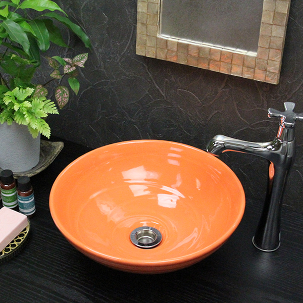 信楽焼 オレンジ色(小型)手洗い鉢 飽きのこない洗面鉢 お洒落な洗面器 手洗器 手洗鉢 洗面ボール 洗面シンク 陶器 洗面台 手洗い鉢 洗面ボール 洗面陶器 やきもの 和風 tr-2182