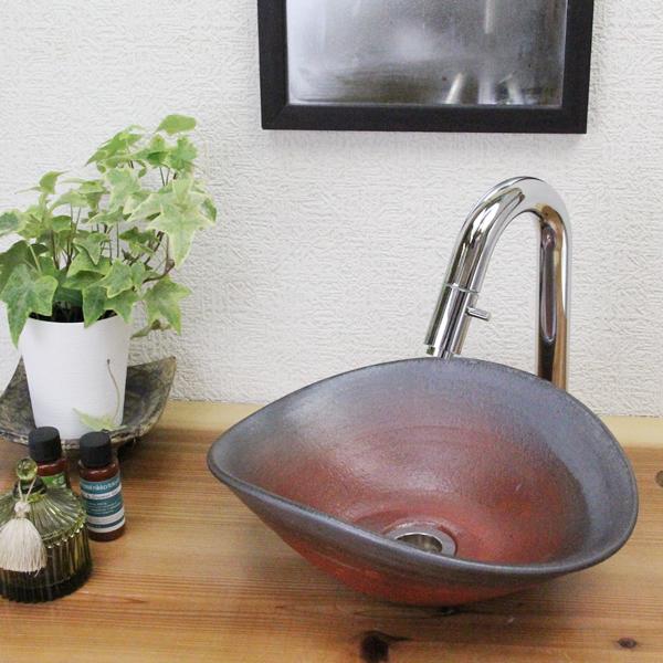 洗面ボール おしゃれ 鉄赤小判型 洗面ボウル 洗面鉢 洗面器 手洗器 手洗鉢 洗面シンク 陶器 洗面台 手洗い鉢 和風 tr-1158
