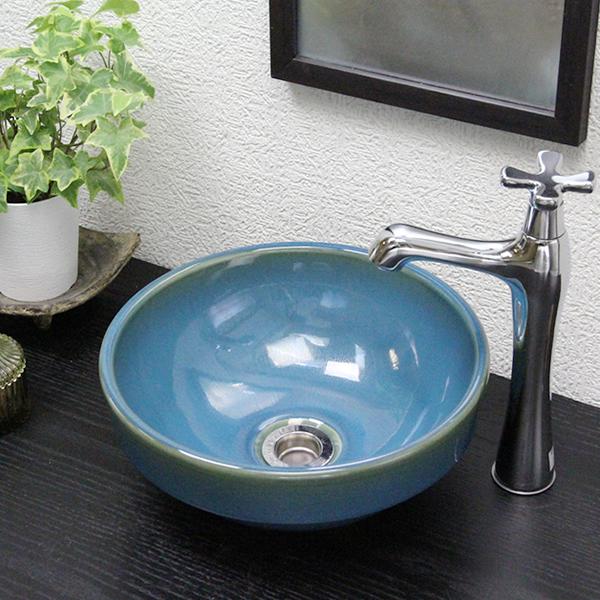 信楽焼 孔雀色手洗い鉢 飽きのこない洗面鉢 お洒落な洗面器 手洗器 手洗鉢 洗面ボール 洗面シンク 陶器 洗面台 手洗い鉢 洗面ボウル 洗面陶器 やきもの 和風 tm-1054
