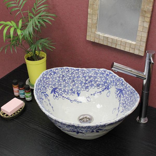 信楽焼 桜絵手洗い鉢 飽きのこない洗面鉢 お洒落な洗面器 手洗器 手洗鉢 洗面ボール 洗面シンク 陶器 洗面台 手洗い鉢 洗面ボール 洗面陶器 やきもの 和風 tr-4068