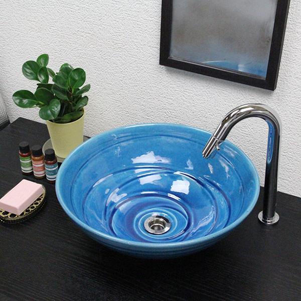 信楽焼 ブルービードロ(中型)手洗い鉢 飽きのこない洗面鉢 お洒落な洗面器 手洗器 手洗鉢 洗面ボール 洗面シンク 陶器 洗面台 手洗い鉢 洗面ボウル 洗面陶器 やきもの 和風 tr-3197