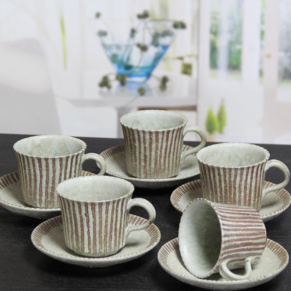 信楽焼 コーヒーカップ ペアセット 5客セット 碗皿 陶器コーヒー 碗皿 焼き物 器 カフェマグ 碗皿 信楽 やきもの 土もの 食器 カップ マグカップ マグ 萌黄ライン 楽ギフ_のし 楽ギフ_のし宛書 楽ギフ_メッセ入力