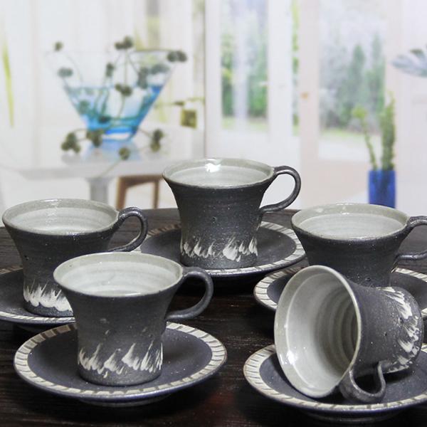 【 今だけ10%OFF&ポイント5倍 】信楽焼 コーヒーカップ ペアセット 5客セット 碗皿 陶器コーヒー 碗皿 焼き物 器 カフェマグ 碗皿 信楽 やきもの 土もの 食器 カップ マグカップ マグ 樹氷コーヒーカップ スーパーSALE