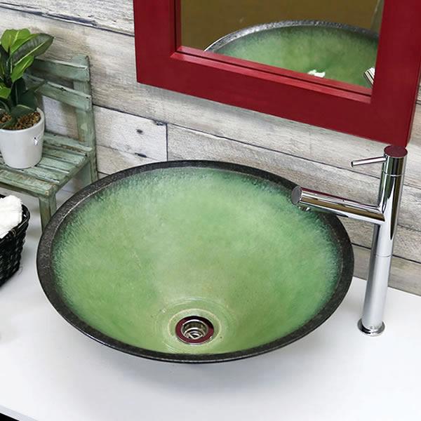 手洗い鉢 陶器洗面 黒色 信楽焼 洗面ボウル 手洗器 洗面ボール 手洗鉢 陶器 洗面鉢 鉢 手洗い器 洗面シンク 洗面器 洗面台 ボール 和風 やきもの しがらき 丸型 緑 tr-3236
