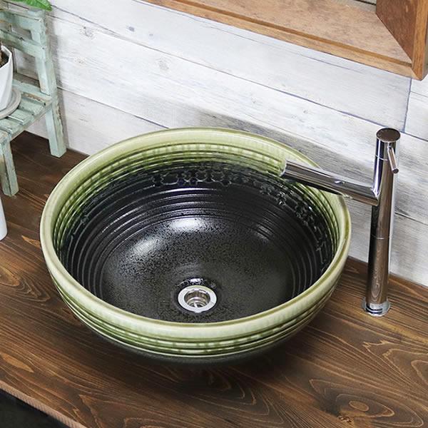 緑風千段深型手洗い鉢 陶器洗面 信楽焼 洗面ボウル 手洗器 洗面ボール 手洗鉢 陶器 洗面鉢 鉢 手洗い器 洗面シンク 洗面器 洗面台 ボール 和風 やきもの しがらき 丸型 円形 和風 tr-3240