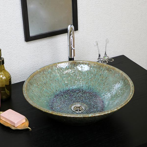 信楽焼 緑古信楽(中型)手洗い鉢 飽きのこない洗面鉢 お洒落な洗面器 手洗器 手洗鉢 洗面ボール 洗面シンク 陶器 洗面台 手洗い鉢 洗面ボウル 洗面陶器 やきもの 和風 tr-3200