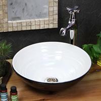 信楽焼 ホワイトブラック(小型)手洗い鉢 飽きのこない洗面鉢 お洒落な洗面器 手洗器 手洗鉢 洗面ボール 洗面シンク 陶器 洗面台 手洗い鉢 洗面ボール 洗面陶器 やきもの 和風 tr-2236