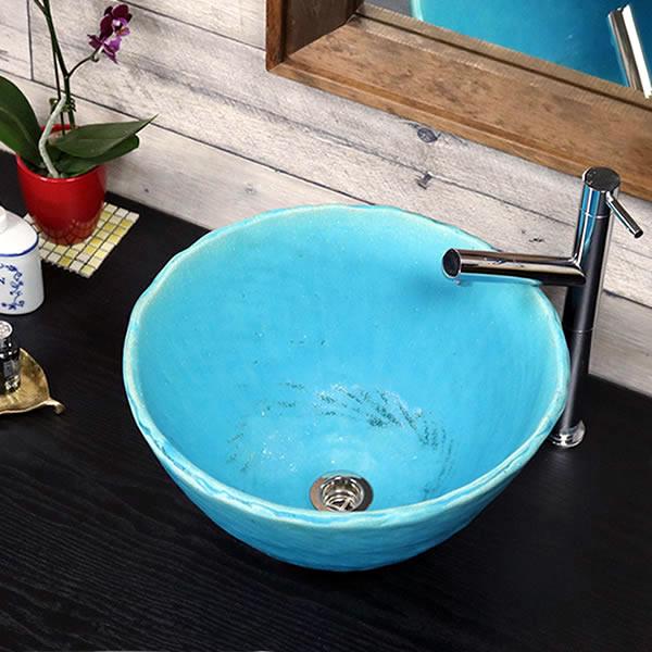 手洗い鉢 陶器洗面 信楽焼 洗面ボウル 手洗器 洗面ボール トイレ用 手洗鉢 陶器 洗面鉢 鉢 手洗い器 鉢 洗面シンク 洗面器 洗面台 ボール 和風 やきもの しがらき 青色 トルコブルー tr-2261