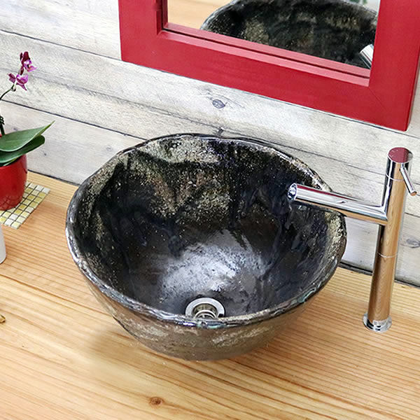 手洗い鉢 陶器洗面 信楽焼 洗面ボウル 手洗器 洗面ボール トイレ用 手洗鉢 陶器 洗面鉢 鉢 手洗い器 鉢 洗面シンク 洗面器 洗面台 ボール 和風 やきもの しがらき 洗面 陶器鉢 tr-2262