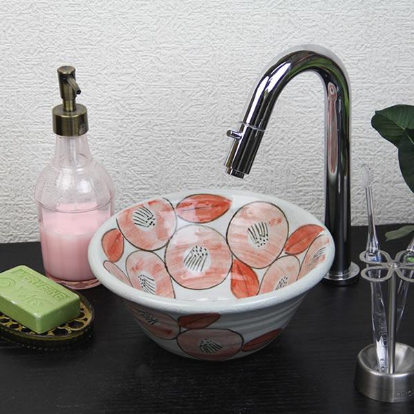 信楽焼 牡丹絵(ミニ)手洗い鉢 飽きのこない洗面鉢 お洒落な洗面器 手洗器 手洗鉢 洗面ボール 洗面シンク 陶器 洗面台 手洗い鉢 洗面ボール 洗面陶器 やきもの 和風 tr-1173