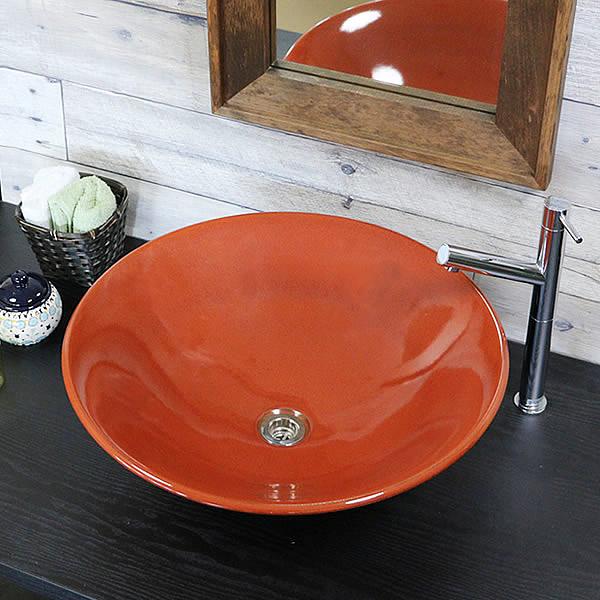 信楽焼 鉄赤ソリ型(大型)手洗い鉢 飽きのこない洗面鉢 お洒落な洗面器 手洗器 手洗鉢 洗面ボール 洗面シンク 陶器 洗面台 手洗い鉢 洗面ボール 洗面陶器 やきもの 和風 tr-4015