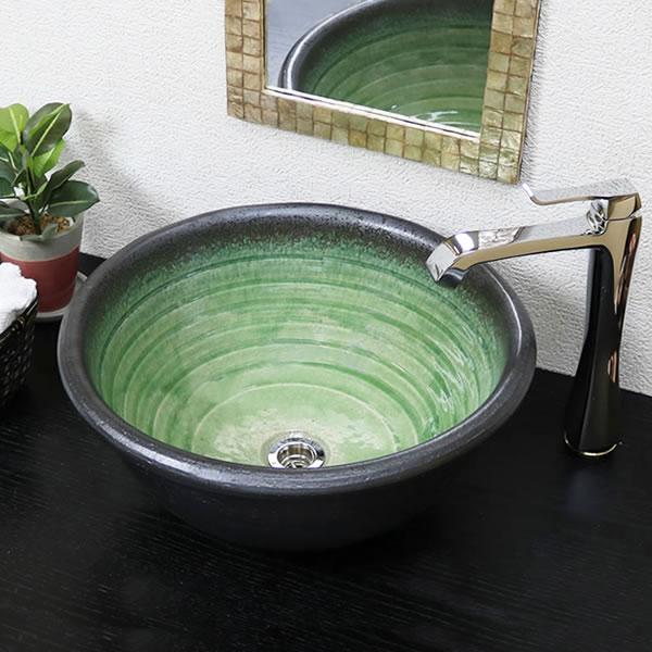 手洗い鉢 陶器洗面 信楽焼 洗面ボウル 手洗器 洗面ボール 手洗鉢 陶器 洗面鉢 鉢 手洗い器 洗面シンク 洗面器 洗面台 ボール 和風 やきもの しがらき 大型 緑ガラス tr-4119