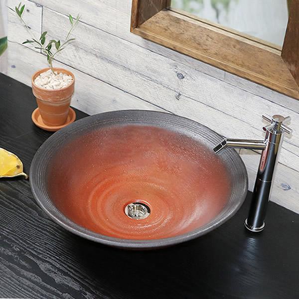 洗面鉢 手洗い鉢 陶器洗面 信楽焼 洗面ボウル 手洗器 洗面ボール 手洗鉢 陶器 洗面鉢 鉢 手洗い器 洗面シンク 洗面器 洗面台 ボール 和風 やきもの しがらき tr-4122