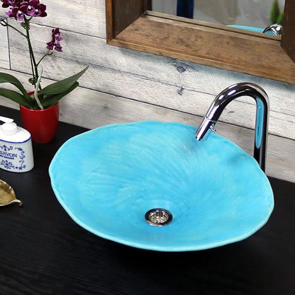 青 手洗い鉢 陶器洗面 信楽焼 洗面ボウル 手洗器 洗面ボール 手洗鉢 陶器 洗面鉢 鉢 手洗い器 洗面シンク 洗面器 洗面台 ボール 和風 やきもの しがらき 小判型 楕円型 トルコブルー tr-4126