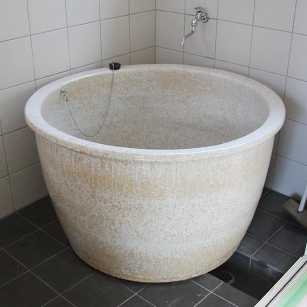 丸型 直径900 × 高さ550mm 信楽焼浴槽ロクロ成型 陶器浴槽 陶器風呂 つぼ湯 つぼ風呂 風呂釜 風呂桶 しがらきやき やきもの バスタブ 釜風呂 信楽焼ふろ 露天 温泉 yr-900