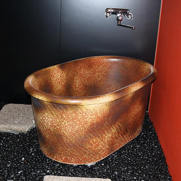 小判型浴槽 幅1600×奥行850× 高さ580mm 信楽焼浴槽 陶器風呂釜 陶器浴槽 陶器風呂 つぼ湯 つぼ風呂 風呂釜 風呂桶 しがらきやき やきもの バスタブ 釜風呂 信楽焼ふろ 露天風呂 yk-1600