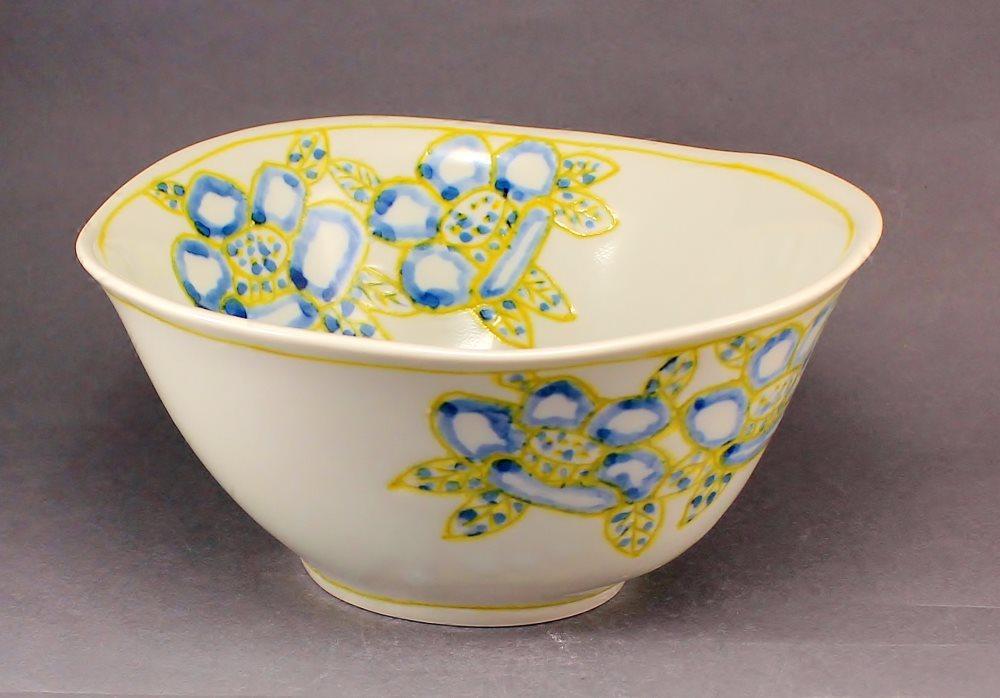 瀬戸焼 オリジナル 手描き 椿絵 描き落とし 多様鉢