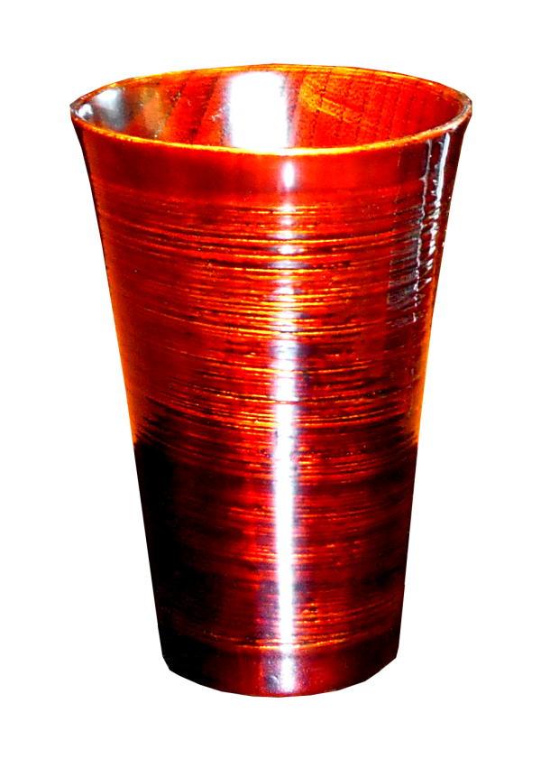 手塗り手仕上の木製千筋フリーカップ(八雲白檀琥珀)