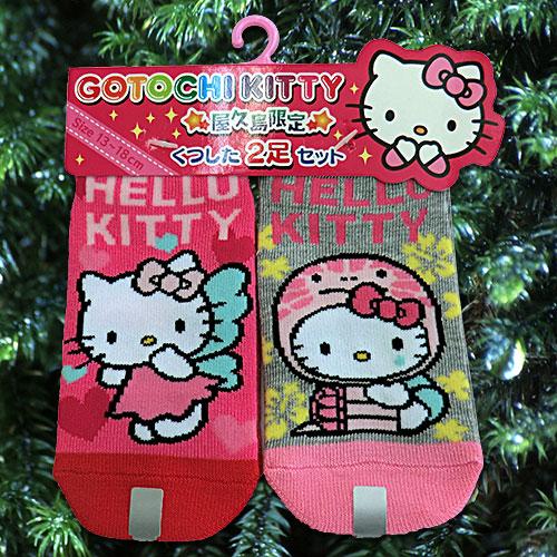 人気ブランド多数対象 屋久島限定販売のHELLO 爆買い送料無料 KITTYのグッズです HELLO KITTY かめ YAKUSHIMAくつした2足セット フェアリー