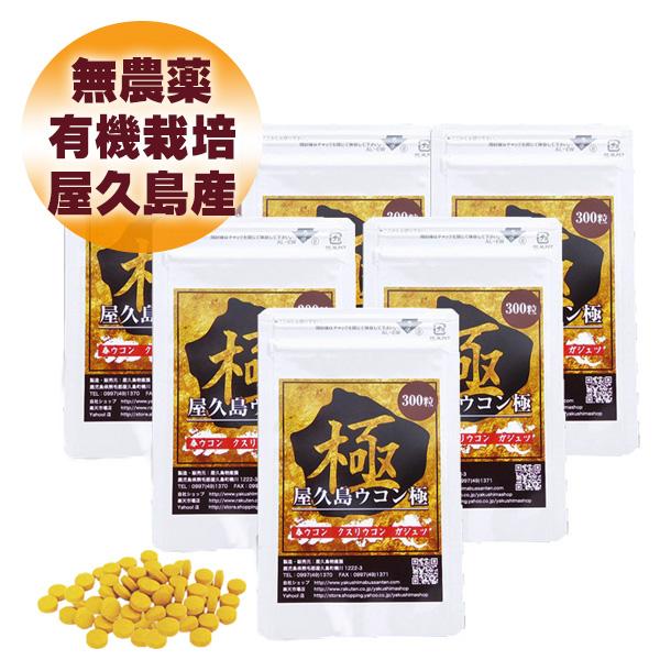 屋久島 ウコン 極 300 粒 6袋 セット 【 屋久島産 送料無料 無農薬 有機栽培 サプリメント クルクミン 3種混合 】