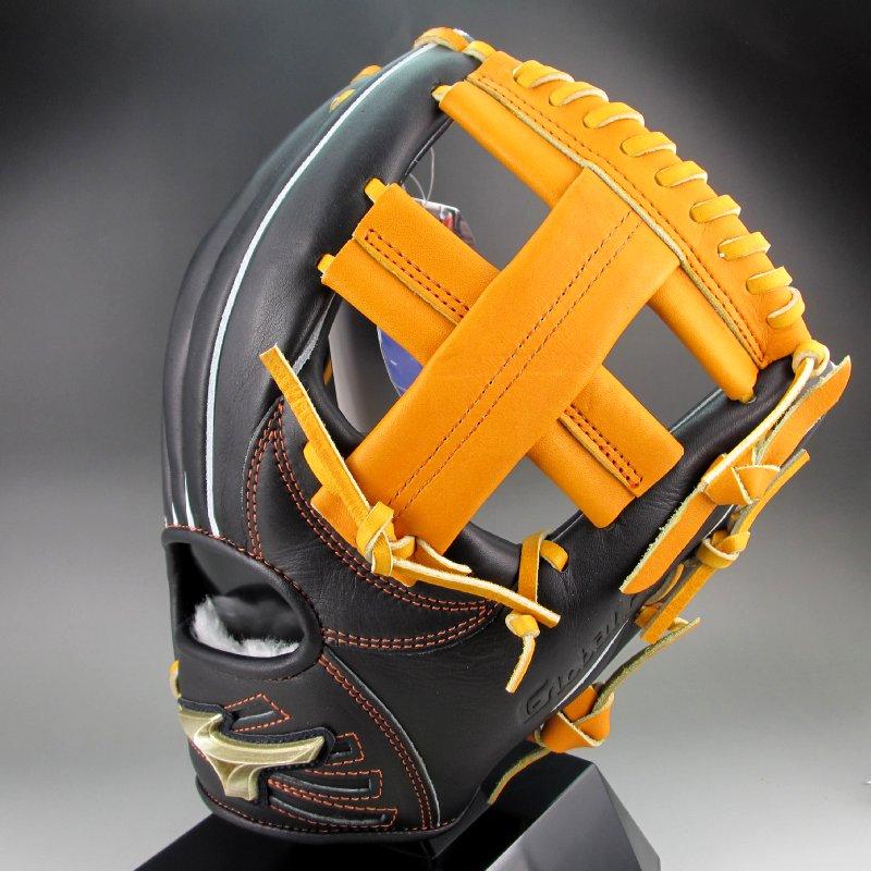 ミズノ ソフトボールグラブ 内野手用 右投げ グローバルエリート Hセレクション02 1AJGS21413(0954)ブラックxオレンジ