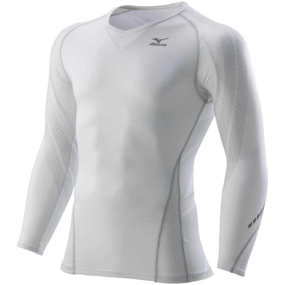 ミズノ MIZUNO BG7000T バイオギアシャツ (長袖) K2MJ6B6170 ホワイトxグレー UPF50+ 日本バドミントン ダイナモーションフィット