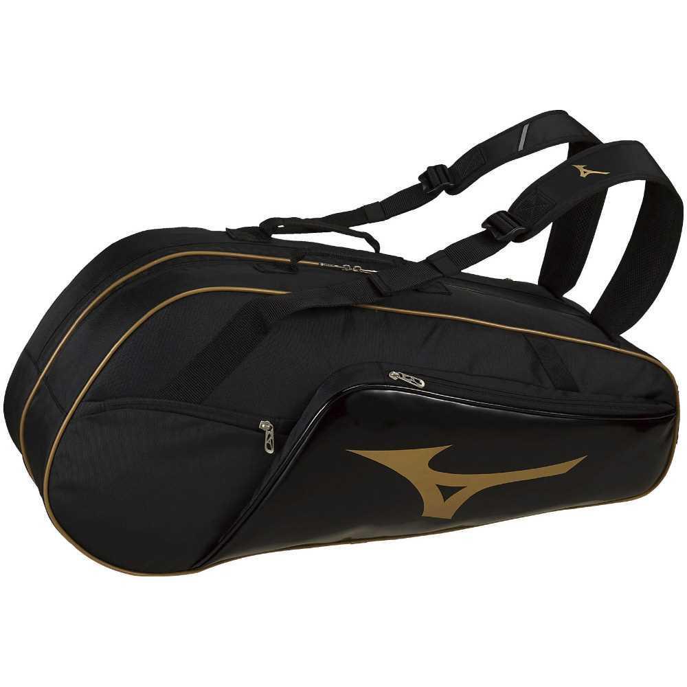 ミズノ MIZUNO ラケットバッグ(6本入れ) 63JD900795 ブラック×ゴールド シューズポケットB サイドポケット