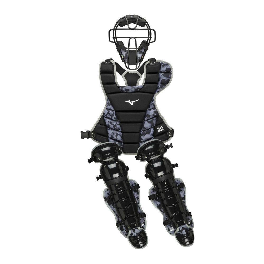 ミズノ MIZUNO 軟式捕手防具3点セット 1DJPC01203 ブラック×グレー(03) マスク(SGマーク合格品)、プロテクター、レガーズ