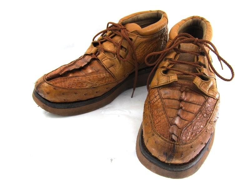 MAX LEATHER マックスレザー オーストリッチ クロコダイル 9  約27.0-27.5cm USA製・編上げショートブーツ♪YALAKU-ヤラク-メンズカジュアルブーツ・紳士靴【中古】【送料無料】【靴】