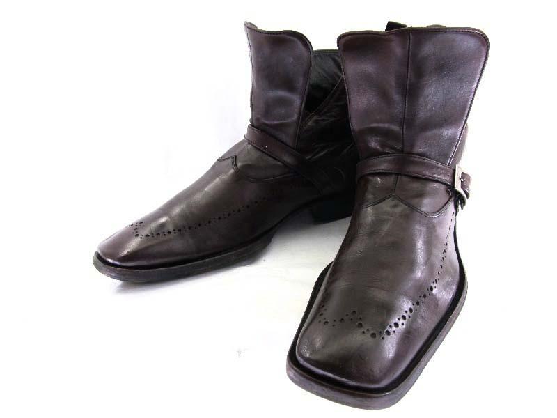 【中古】【送料無料】DSQUARED ディースクエァード43 約27.0-27.5cm イタリア製 ストラップブーツ♪YALAKU-ヤラク-メンズカジュアルブーツ・紳士靴