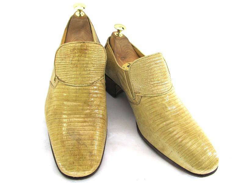 【中古】【送料無料】CESAR セザール 8 (約26.0-26.5cm)爬虫類 リザードレザー イタリア製 スリッポン♪YALAKU-ヤラク-メンズビジネスシューズ・紳士靴