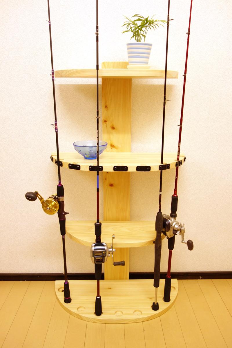 家具職人の作ったロッドスタンド RS-1 1ピース用 9本収納 ヒノキ無垢材使用 受注生産品