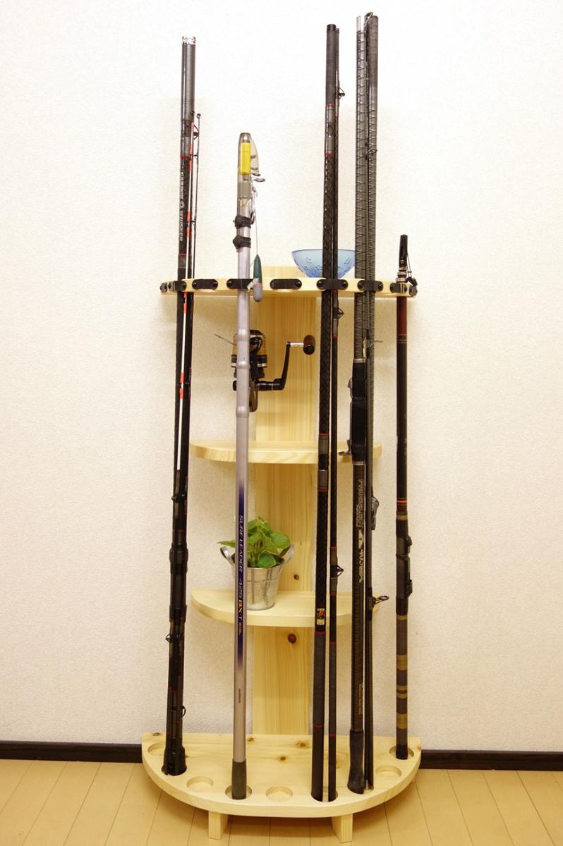 家具職人の作ったロッドスタンド RS-1 3ピース用 9本収納 ヒノキ無垢材使用 受注生産品