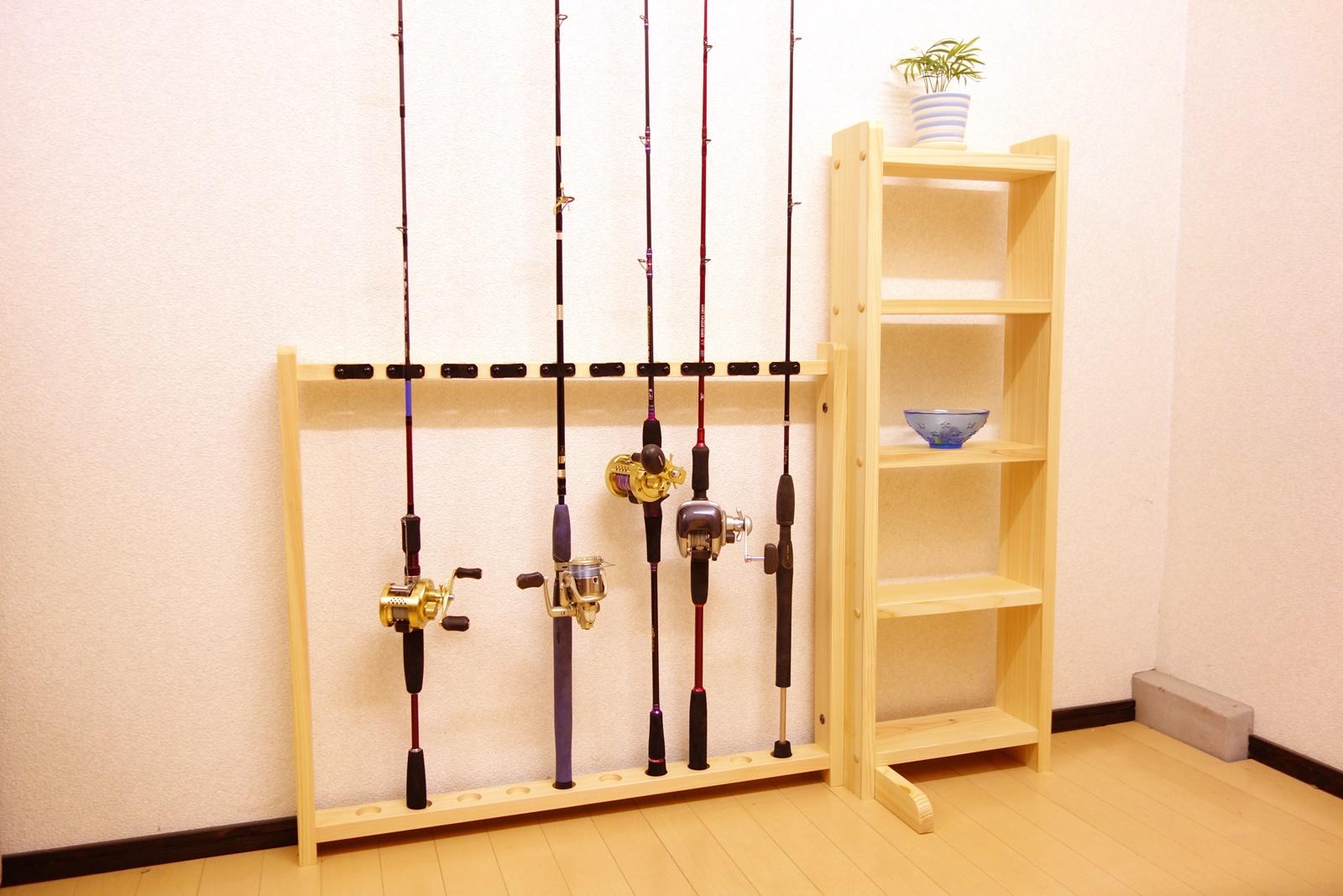 家具職人の作ったロッドスタンド RS-5 2ピース用 10本収納 ヒノキ無垢材使用 受注生産品