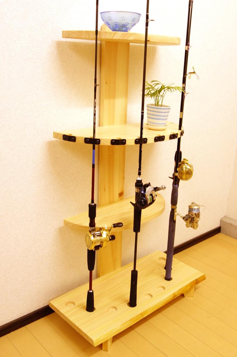 家具職人の作ったロッドスタンド RS-6 1ピース用 9本収納 ヒノキ無垢材使用 受注生産品