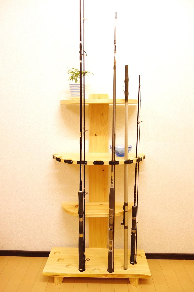 家具職人の作ったロッドスタンド RS-6 2ピース用 9本収納 ヒノキ無垢材使用 受注生産品