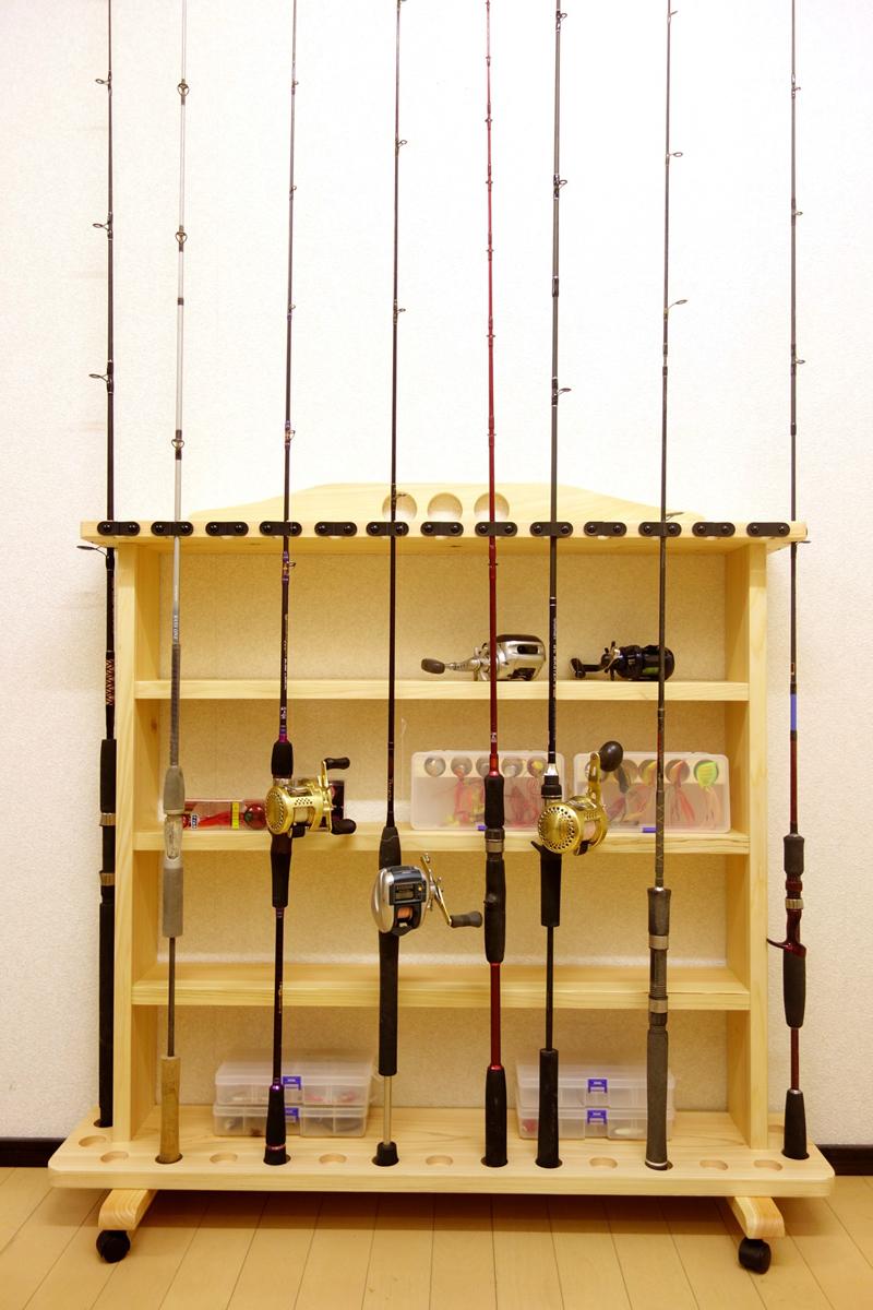 家具職人の作ったロッドスタンド RS-23 1ピース用 17本収納 キャスター付 ヒノキ無垢材使用 受注生産品