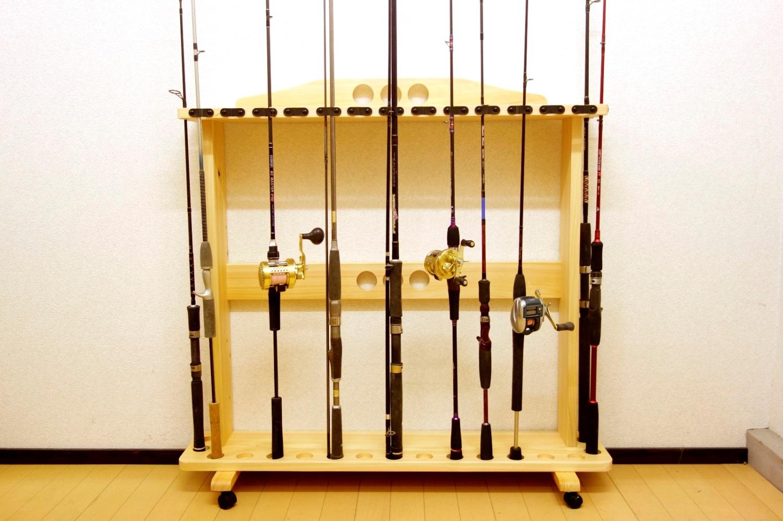 家具職人の作ったロッドスタンド RS-24 2ピース用 17本収納 キャスター付 ヒノキ無垢材使用 受注生産品