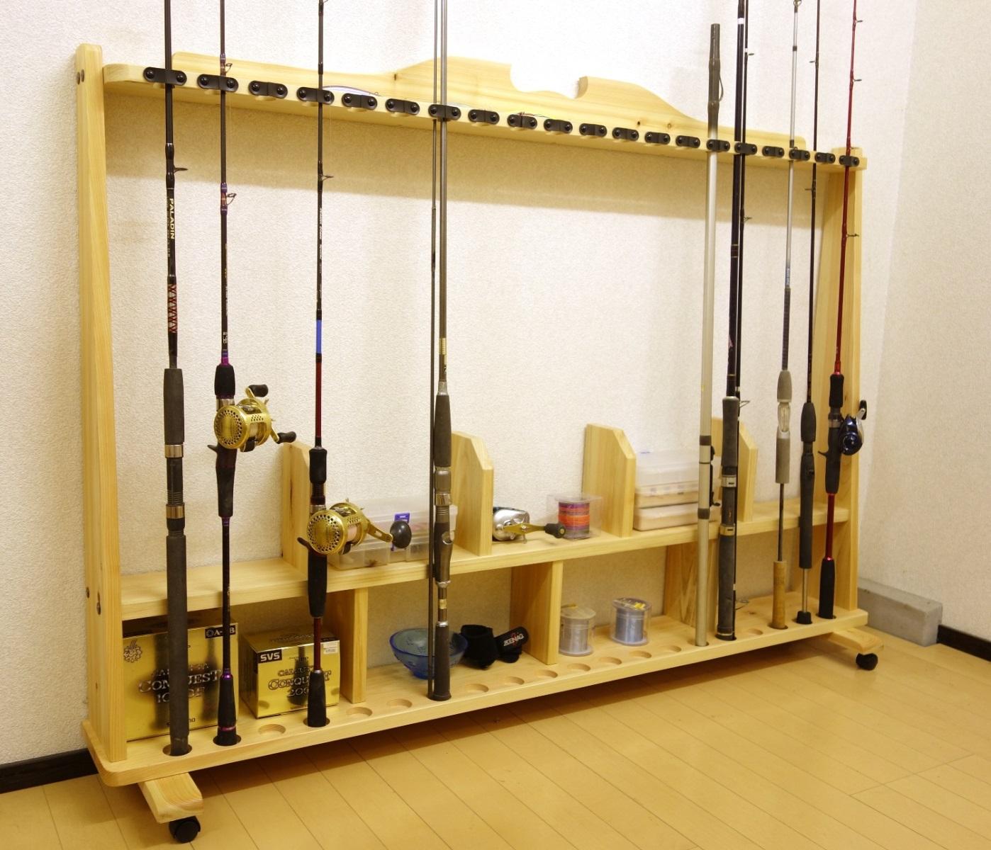 家具職人の作ったロッドスタンド RS-28L 2ピース用 20本収納 ヒノキ無垢材 受注生産品