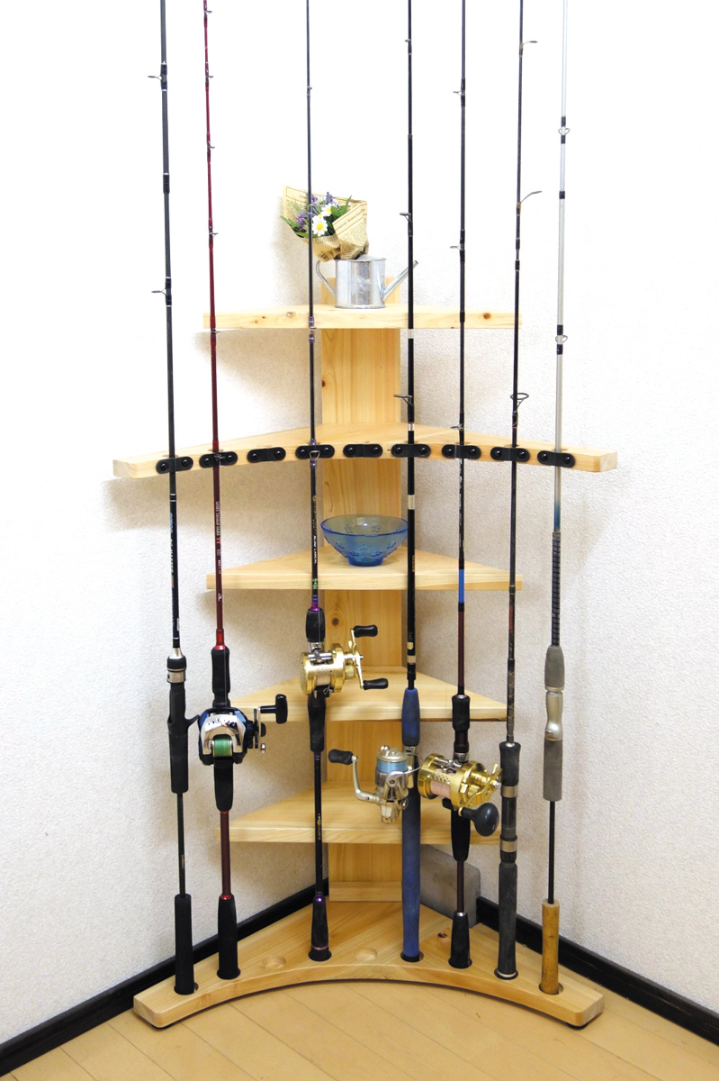 家具職人の作ったロッドスタンド RS-4 1ピース用 9本収納 ヒノキ無垢材使用 受注生産品