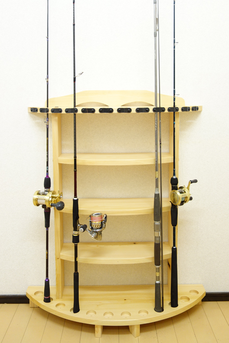 家具職人の作ったロッドスタンド RS-31 2ピース用 12本収納 ヒノキ無垢材 受注生産品