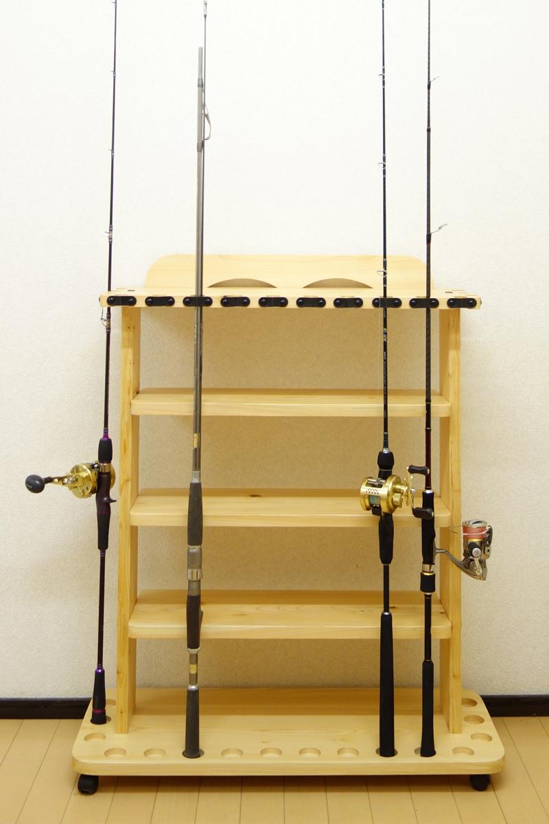 家具職人の作ったロッドスタンド RS-32 1ピース用 16本収納 ヒノキ無垢材 受注生産品